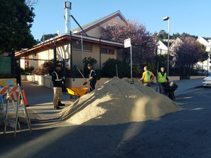 Sand delivery to Upper Noe playground